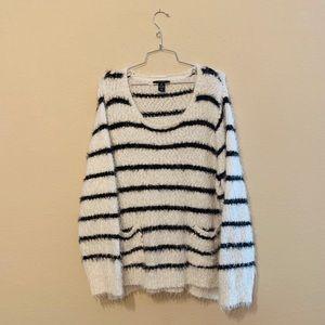 Black and White Striped Eyelash Sweater